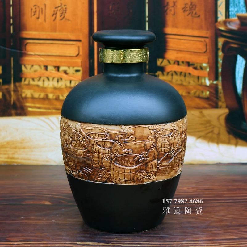 10斤雕刻酿酒图陶瓷酒坛